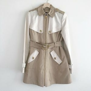 Juicy Couture Two Tone Tan Khaki Trench Coat